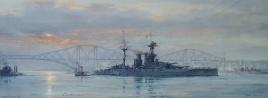 HMS QUEEN ELIZABETH.  Downstream of the Forth Bridge
