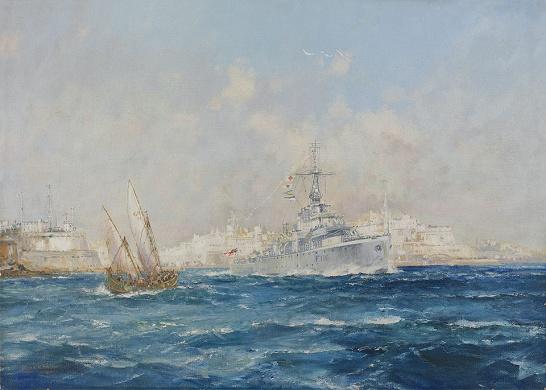 HOMEWARD BOUND: HMS AMETHYST LEAVING MALTA, OCTOBE