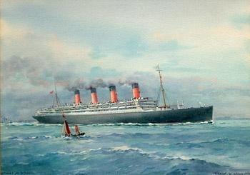 RMS AQUITANIA off Plymouth