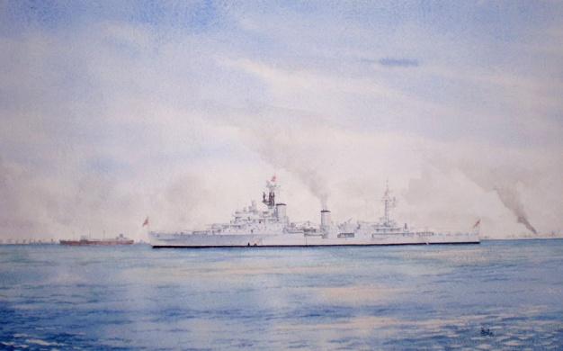 HMS NEWFOUNDLAND IN THE PERSIAN GULF, 1954