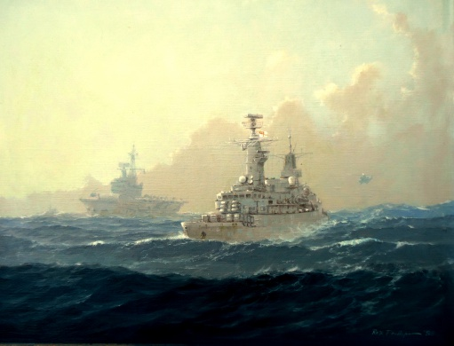 HMS BRILLIANT screening HMS HERMES, South Atlantic 1982