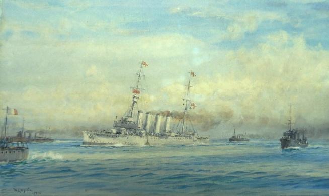 HMS DUBLIN torpedoed in th Adriatic, 1915