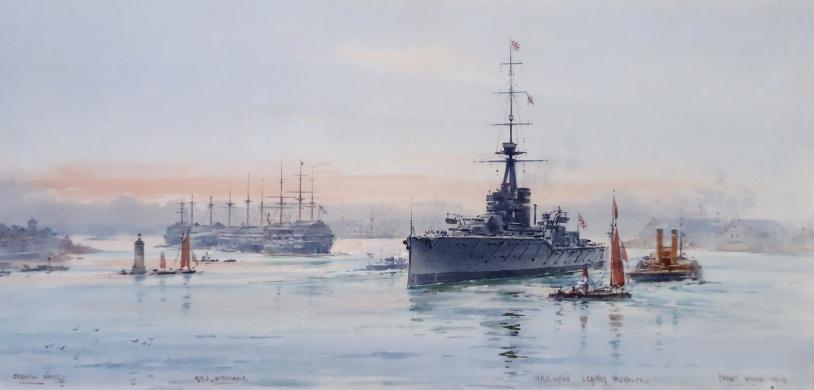 Grand Fleet battleship: HMS ORION leaving  Plymouth, 1914