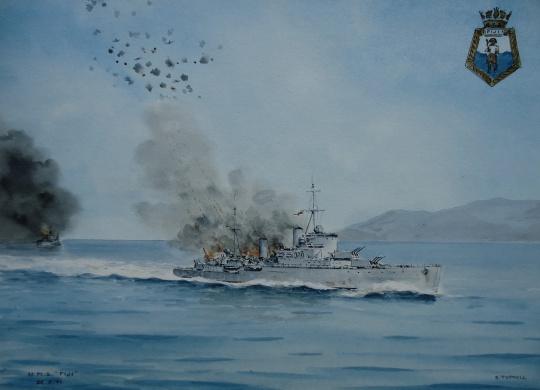 HMS FIJI under air attack, Crete, 22 May 1941