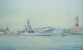 HMS OCEAN, Venice, May 1949