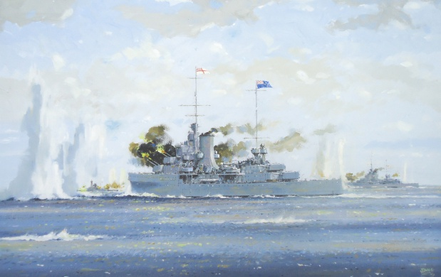 HMNZS ACHILLES and HMS AJAX in action with SMS GRAF SPEE
