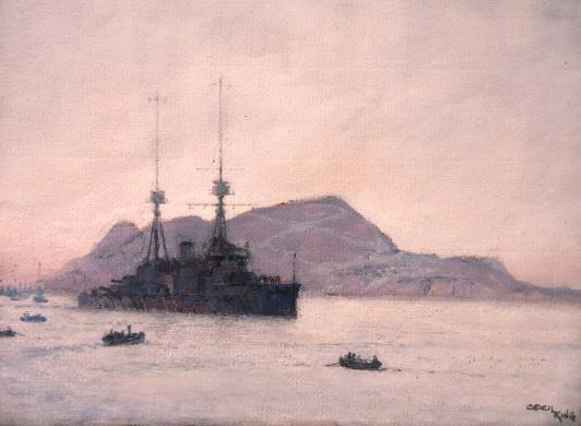 HMS NEPTUNE in GIbraltar Bay, 1911/12