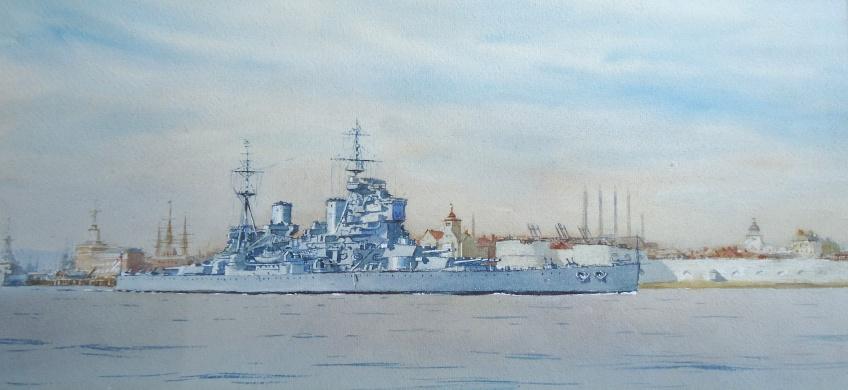 King George V Class battleship leaving Portsmouth c. 1946