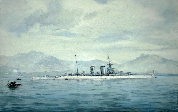 HMS HAWKINS.  China Station 1920s/30s