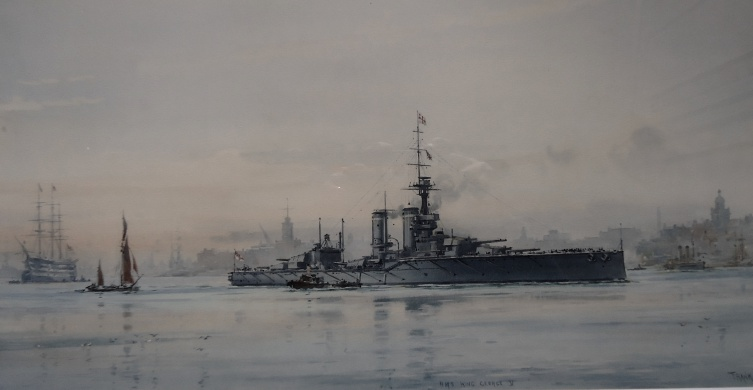HMS KING GEORGE V LEAVING PORTSMOUTH, 1913