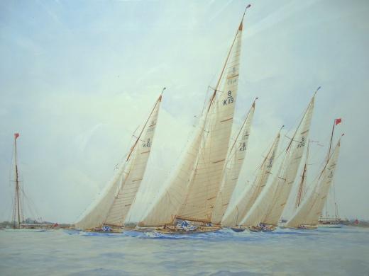 """8 metre boats racing: """"SAGGITA Depart!"""""""