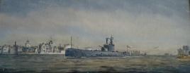 HMS PORPOISE, minelaying submarine, entering Portsmouth, c.1934