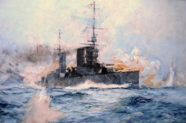 HMS LION in action, Heligoland, 28th August 1914