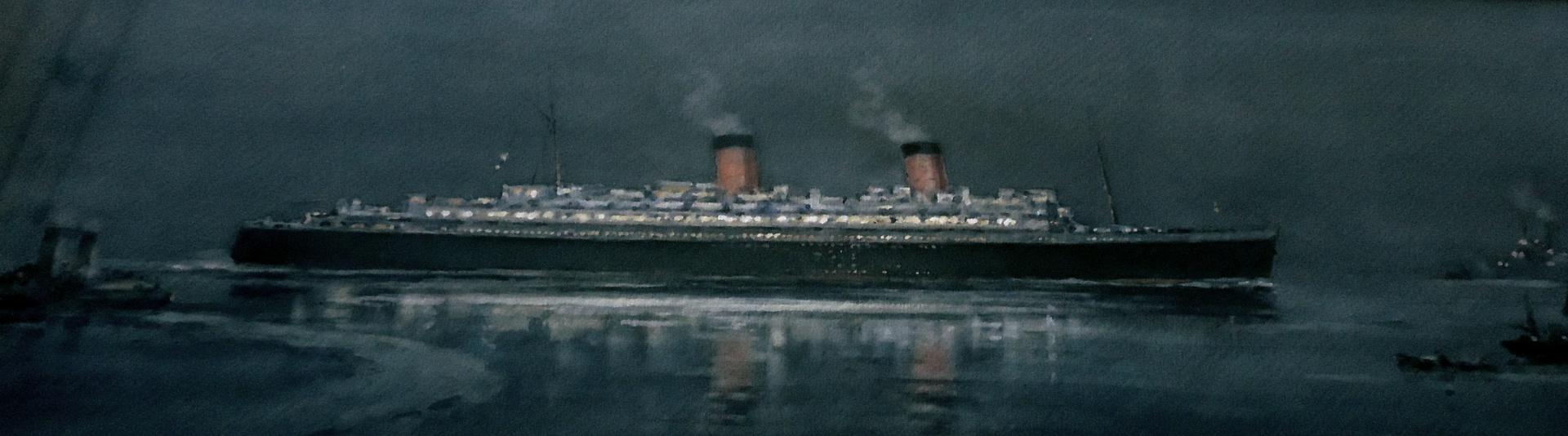 RMS QUEEN ELIZABETH Entering harbour at Night