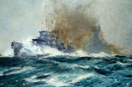 Battleships with escort in a lively sea