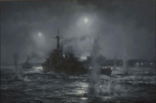 HMS AMETHYST starts her breakout from the Yangtse River, July 1949