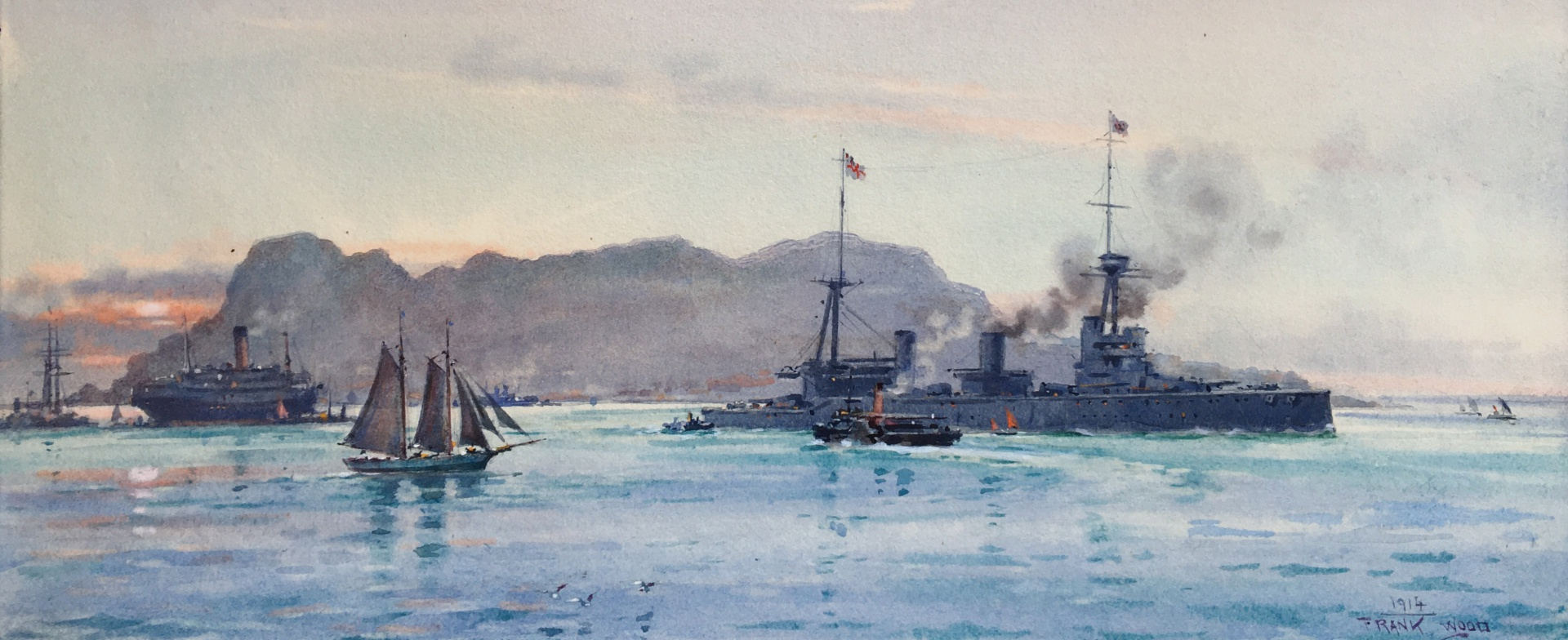 HMS NEW ZEALAND leaving GIbraltar