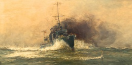 Destroyer ramming U-Boat WW1
