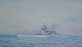 HMS HOWE off the MInquies