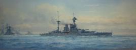 HMS QUEEN ELIZABETH leading her 4 sister dreadnought battleships