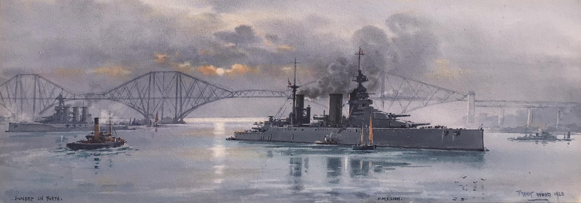 HMS LION lying below the Forth Bridge, 1920