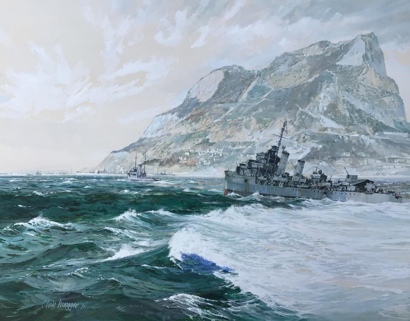 Destroyer limping back to Gibraltar with damage: 1942